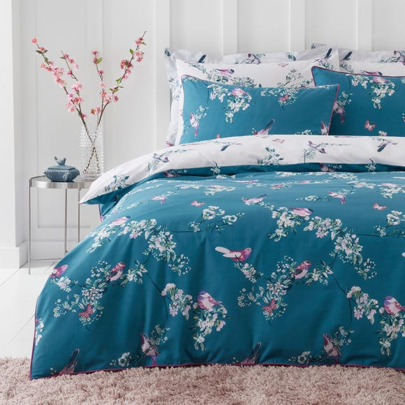 Beautiful Birds Teal Duvet Cover and Pillowcase Set  undefined