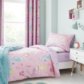 Catherine Lansfield Lets Be Mermaids Easy Care Duvet Cover and Pillowcase Set