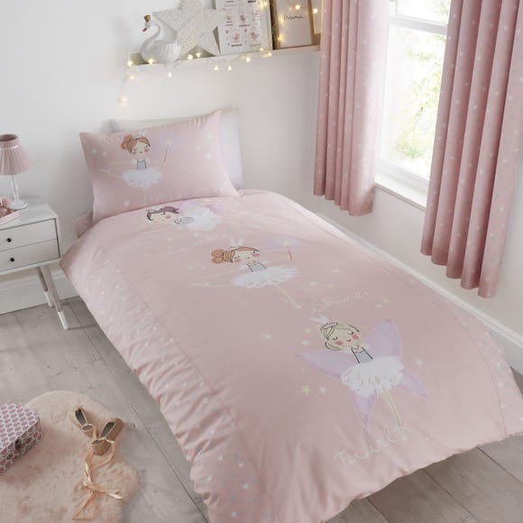 Catherine Lansfield Make A Wish Glow in The Dark Single Duvet Cover and Pillowcase Set Light Pink undefined