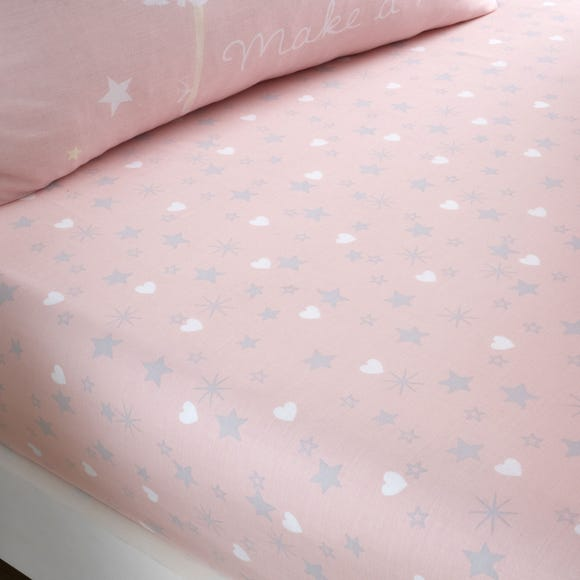 Catherine Lansfield Make A Wish Stars Easy Care Single Fitted Sheet Light Pink undefined