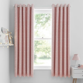 Catherine Lansfield Make A Wish Stars Blackout Eyelet Curtains
