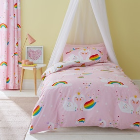 Catherine Lansfield Rainbow Swan Easy Care Double Duvet Cover and Pillowcase Set