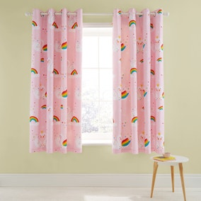 Catherine Lansfield Rainbow Swan Eyelet Curtains