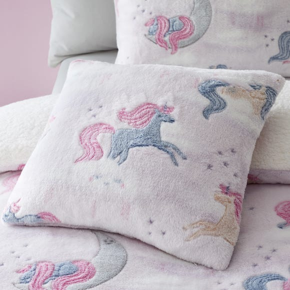 Catherine Lansfield Pink Unicorn Dreams Glow In The Dark Cushion Light Pink undefined