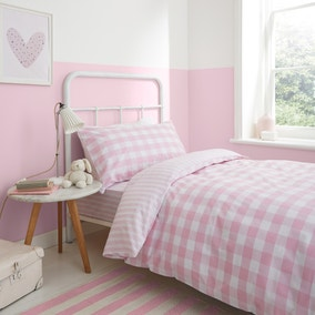 Bianca Check And Stripe 100% Cotton Pink Duvet Cover and Pillowcase Set