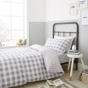 Bianca Check And Stripe 100% Cotton Grey Duvet Cover and Pillowcase Set