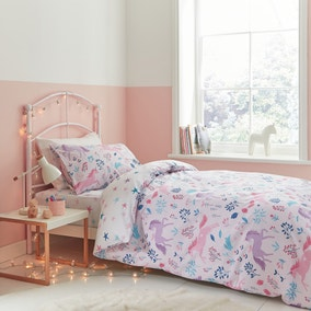 Bianca Woodland Unicorn And Stars 100% Cotton Duvet Cover and Pillowcase Set