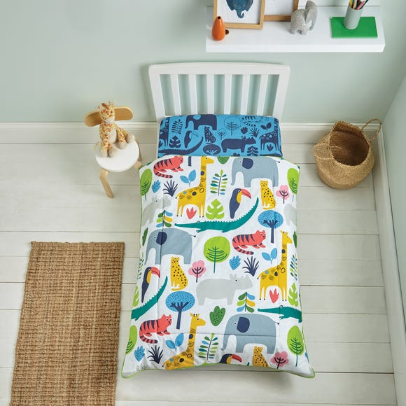 Elements Jungle 100% Cotton 4 Tog Cot Quilt MultiColoured