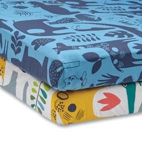 Elements Jungle Pack of 2 100% Cotton Fitted Sheets