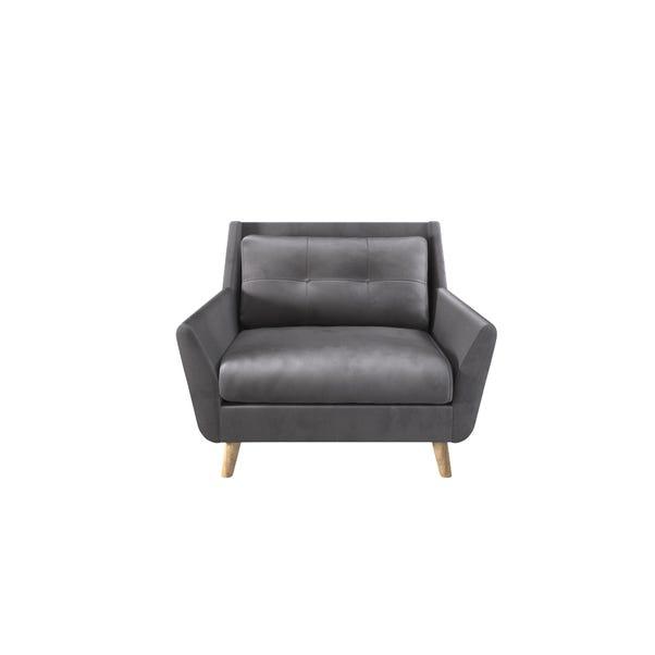 Halston Velvet Snuggle Chair Grey