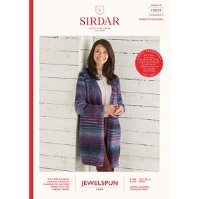 Sirdar 10029 Jewelspun Long Line Jacket Leaflet
