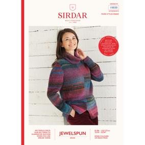 Sirdar 10030 Jewelspun Roll-Neck Jumper Leaflet