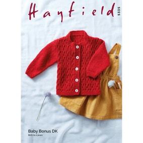 Hayfield 5335 Baby Bonus DK Cardigan Leaflet