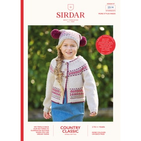 Sirdar 2514 Country Classic DK Cardigan and Bobble Hat Set Leaflet