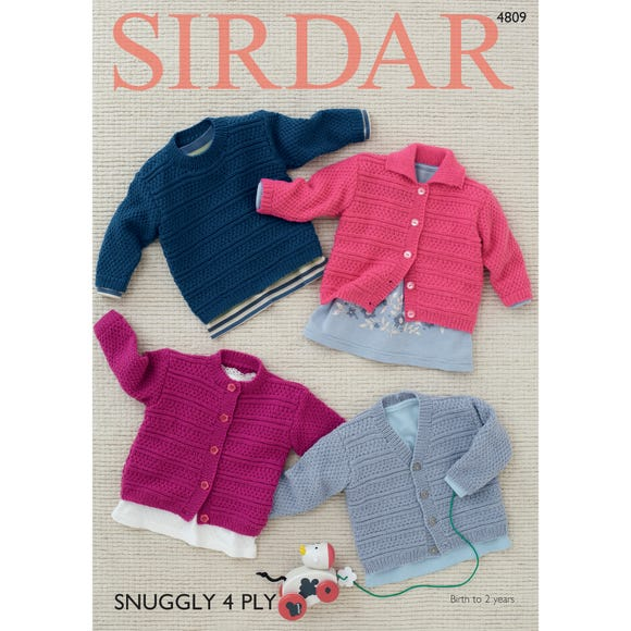 Sirdar 4809 Snuggly 4 Ply Classic Baby Cardigans Leaflet MultiColoured