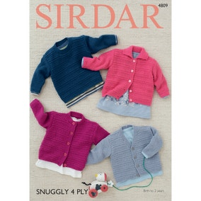 Sirdar 4809 Snuggly 4 Ply Classic Baby Cardigans Leaflet