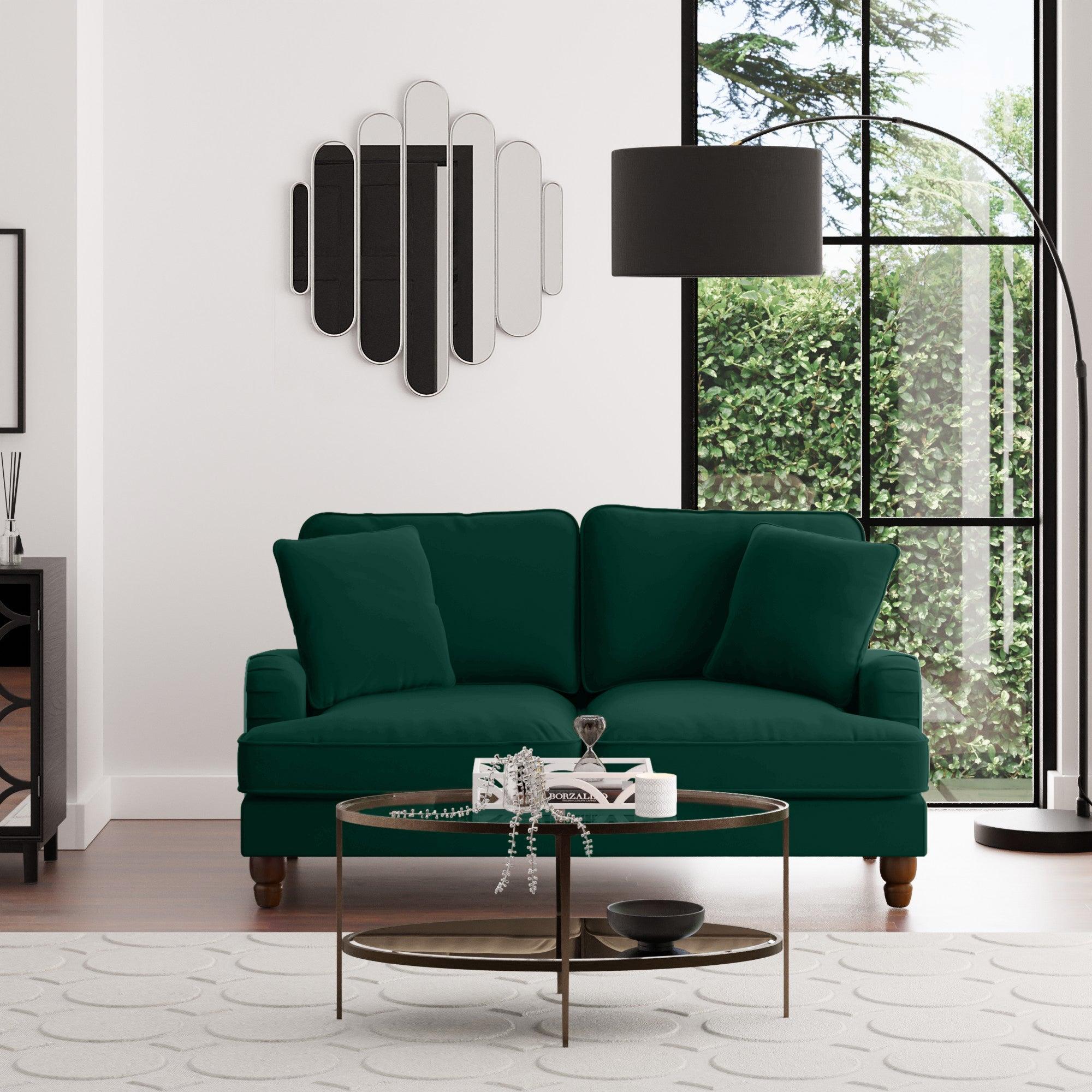 Beatrice Velvet 2 Seater Sofa Bottle (Green)