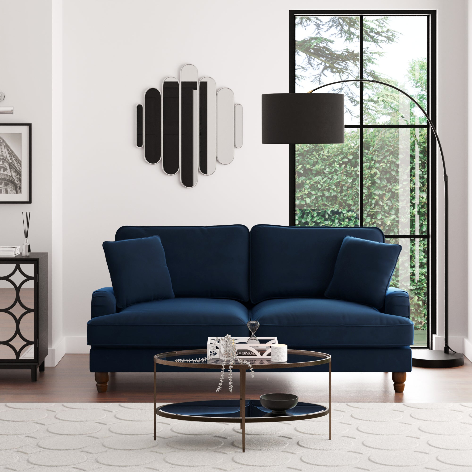 Beatrice Velvet 3 Seater Sofa Navy