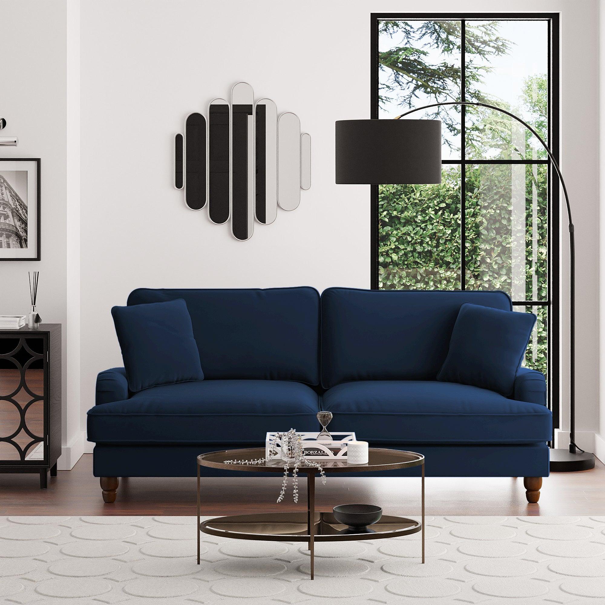 Beatrice Velvet 4 Seater Sofa Navy