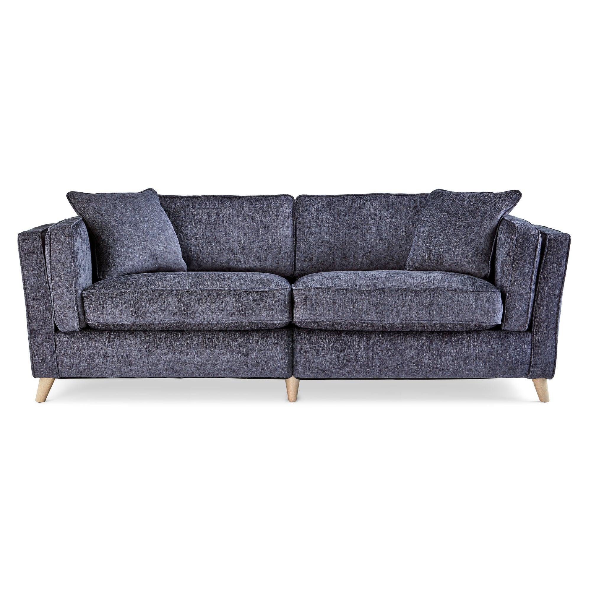 Arabella 4 Seater Sofa Luxury Chenille Navy Blue