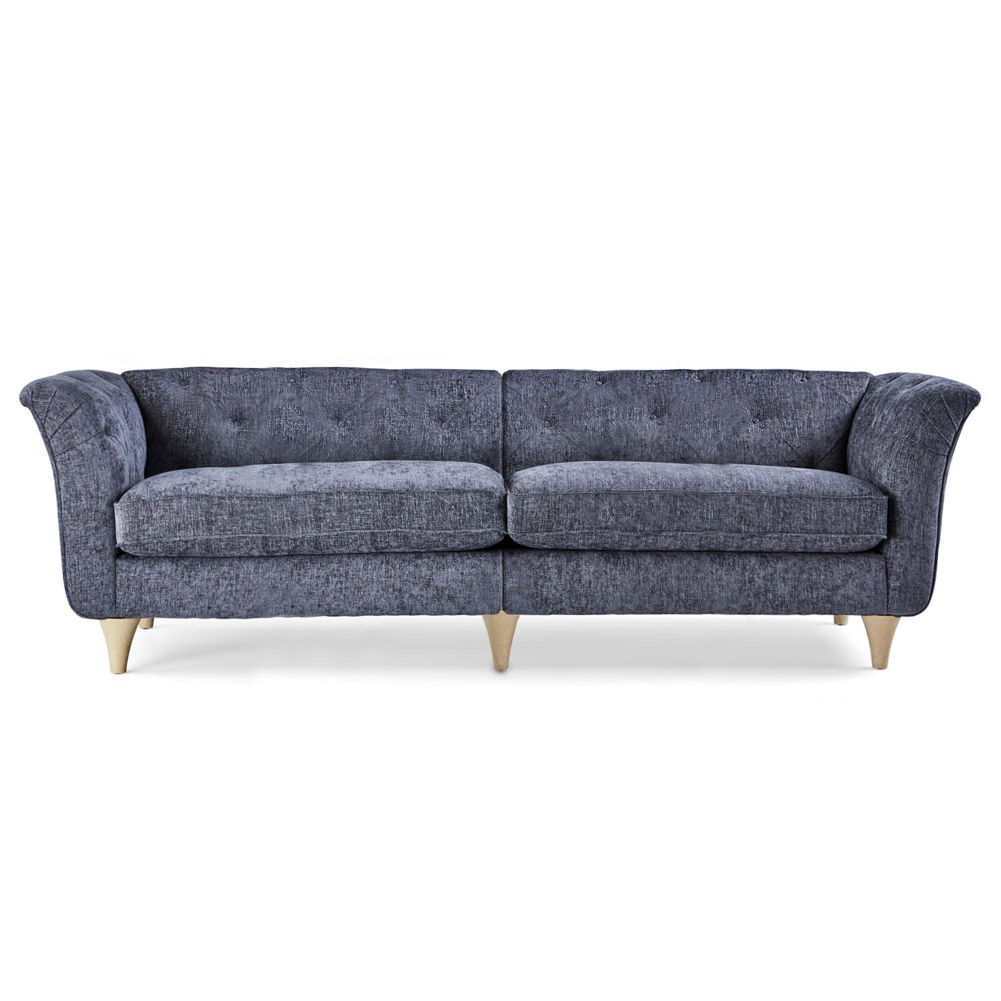 Jaipur 4 Seater Sofa Luxury Chenille Navy Blue