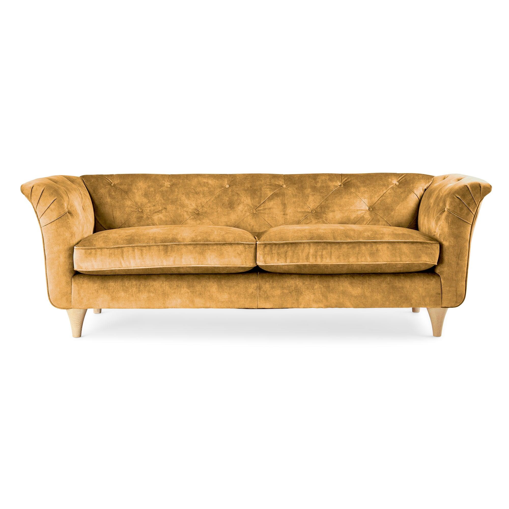 Jaipur 3 Seater Sofa Slub Velvet Slub Velvet Mustard