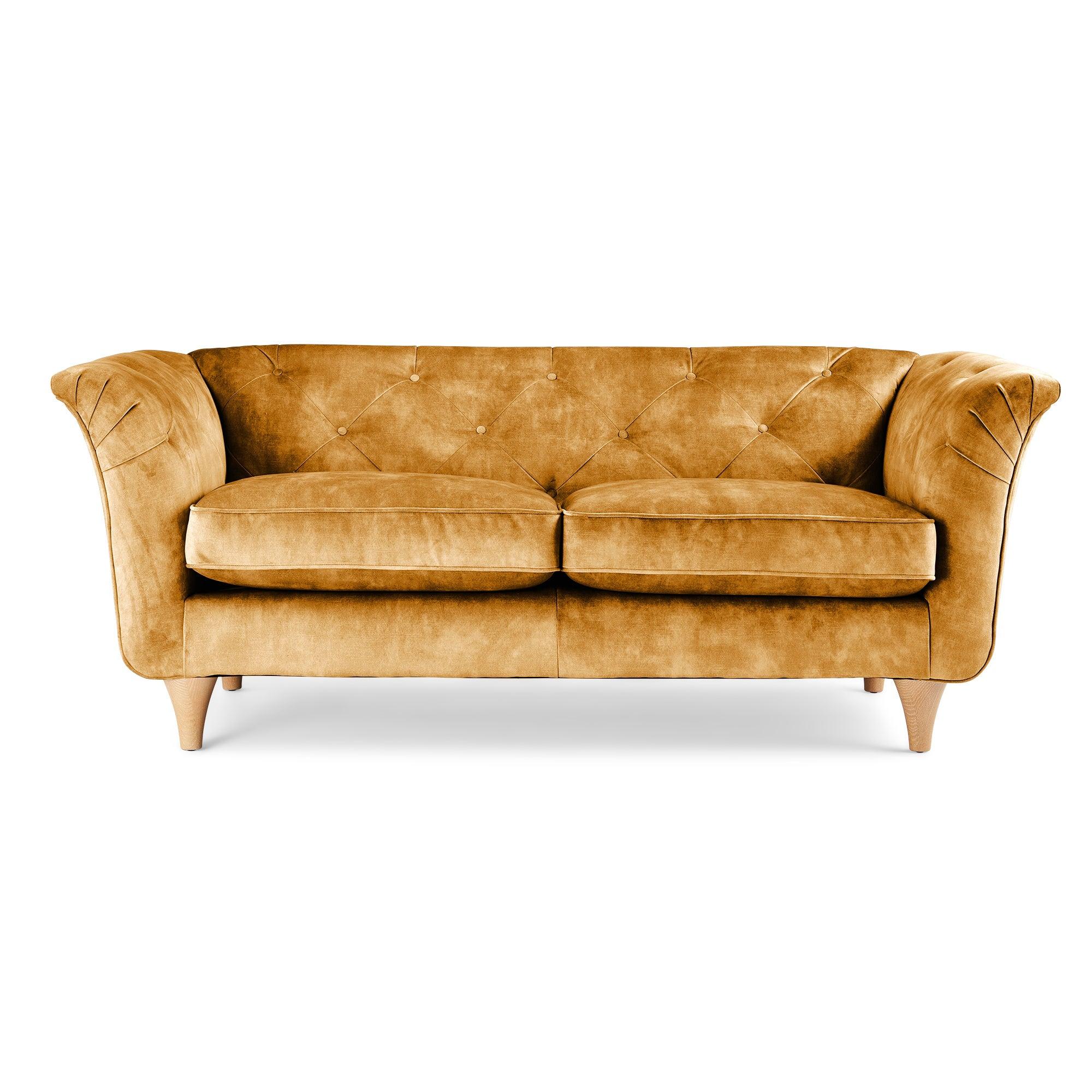 Jaipur 2 Seater Sofa Slub Velvet Slub Velvet Mustard