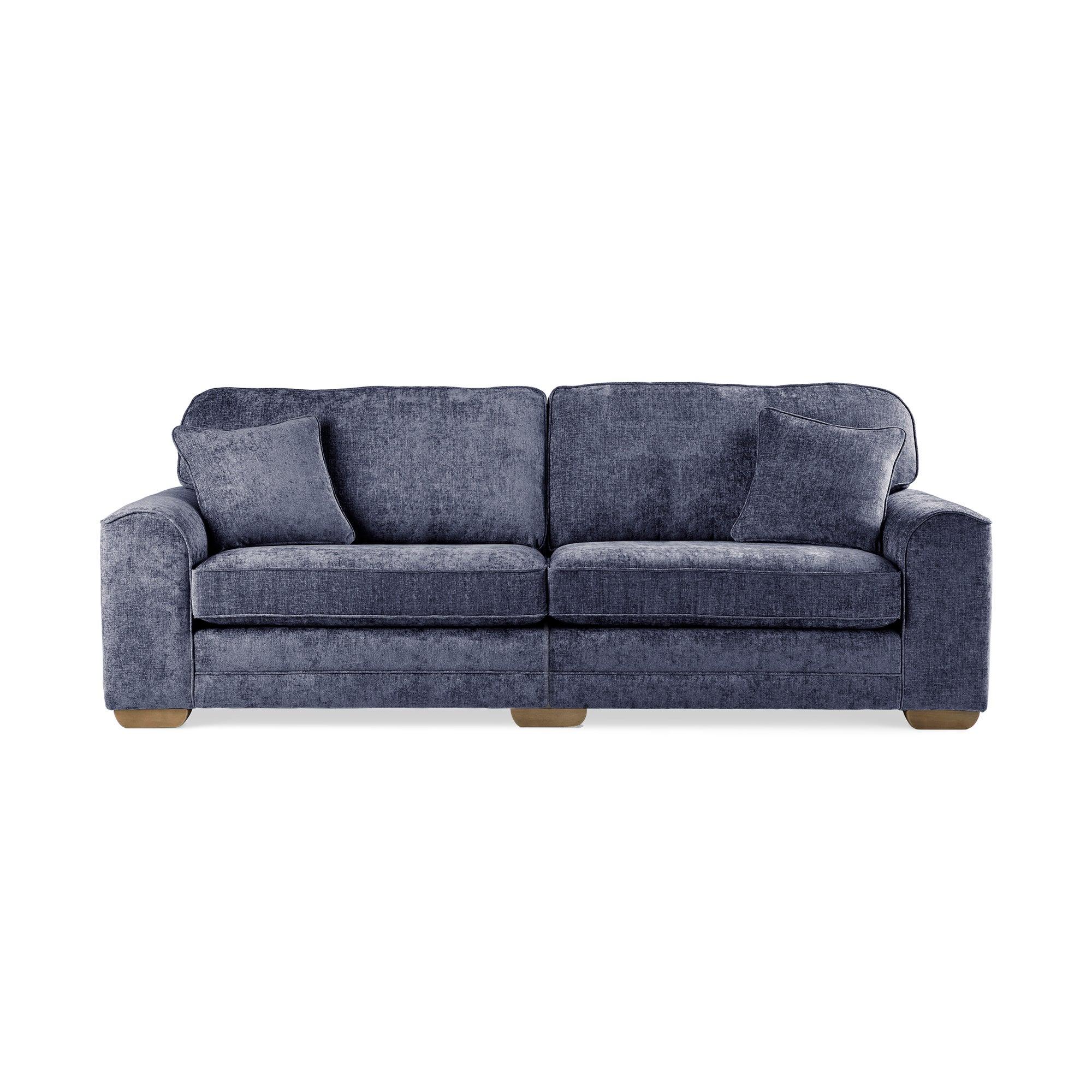 Morello 4 Seater Sofa Luxury Chenille Navy Blue