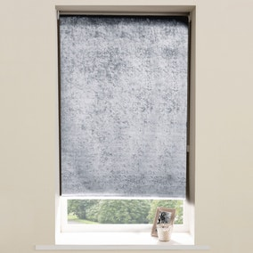 Crushed Velvet Roller Blind Grey