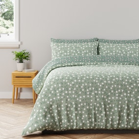 Ottilie Sage Green Spotted Reversible Duvet Cover and Pillowcase Set