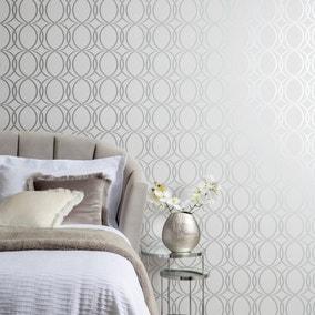 Trellis Silver Wallpaper