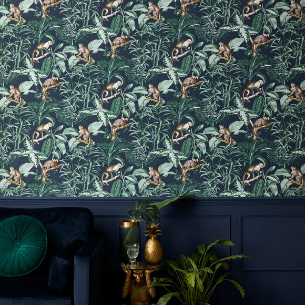 Jungle Luxe Navy Wallpaper Navy