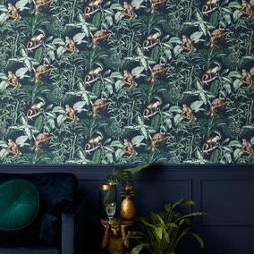 Jungle Luxe Navy Wallpaper