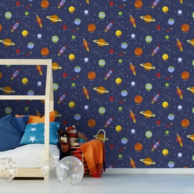 Space and Planets Navy Wallpaper