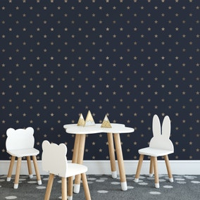 Stars Gold and Navy Wallpaper