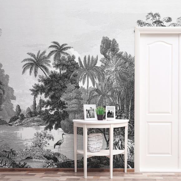 Vintage Tropical Black and White Mural Black and white