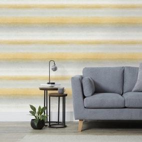 Washy Stripe Ochre Wallpaper