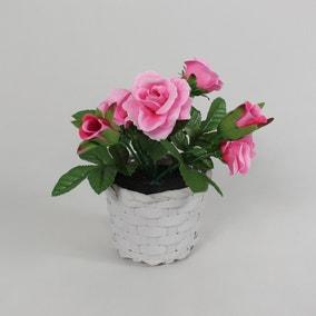 Pink Rose Mini Floral Basket