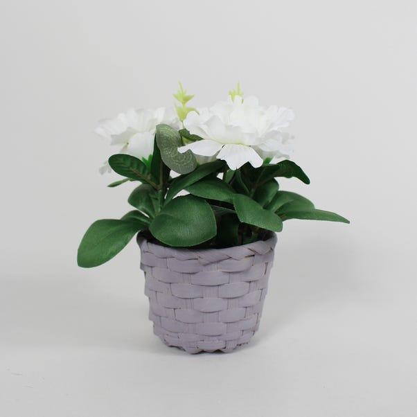 White Blossom Mini Floral Basket White