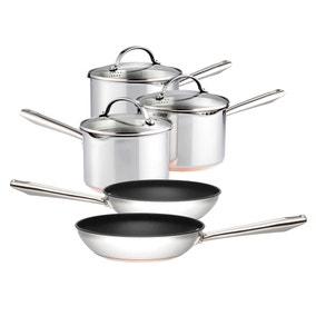 Dunelm Pro Copper Base 5 piece Cookware Set