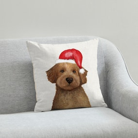 Cockapoo Christmas Hat Cushion