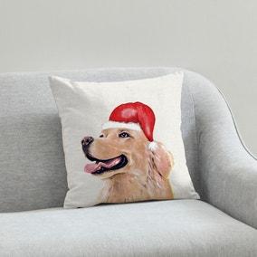 Golden Retriever Christmas Hat Cushion