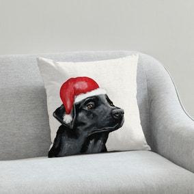 Labrador Christmas Hat Cushion