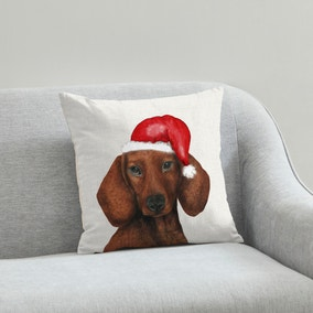 Dachshund Christmas Hat Cushion