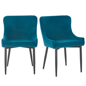Montreal Set of 2 Dining Chairs Teal Velvet