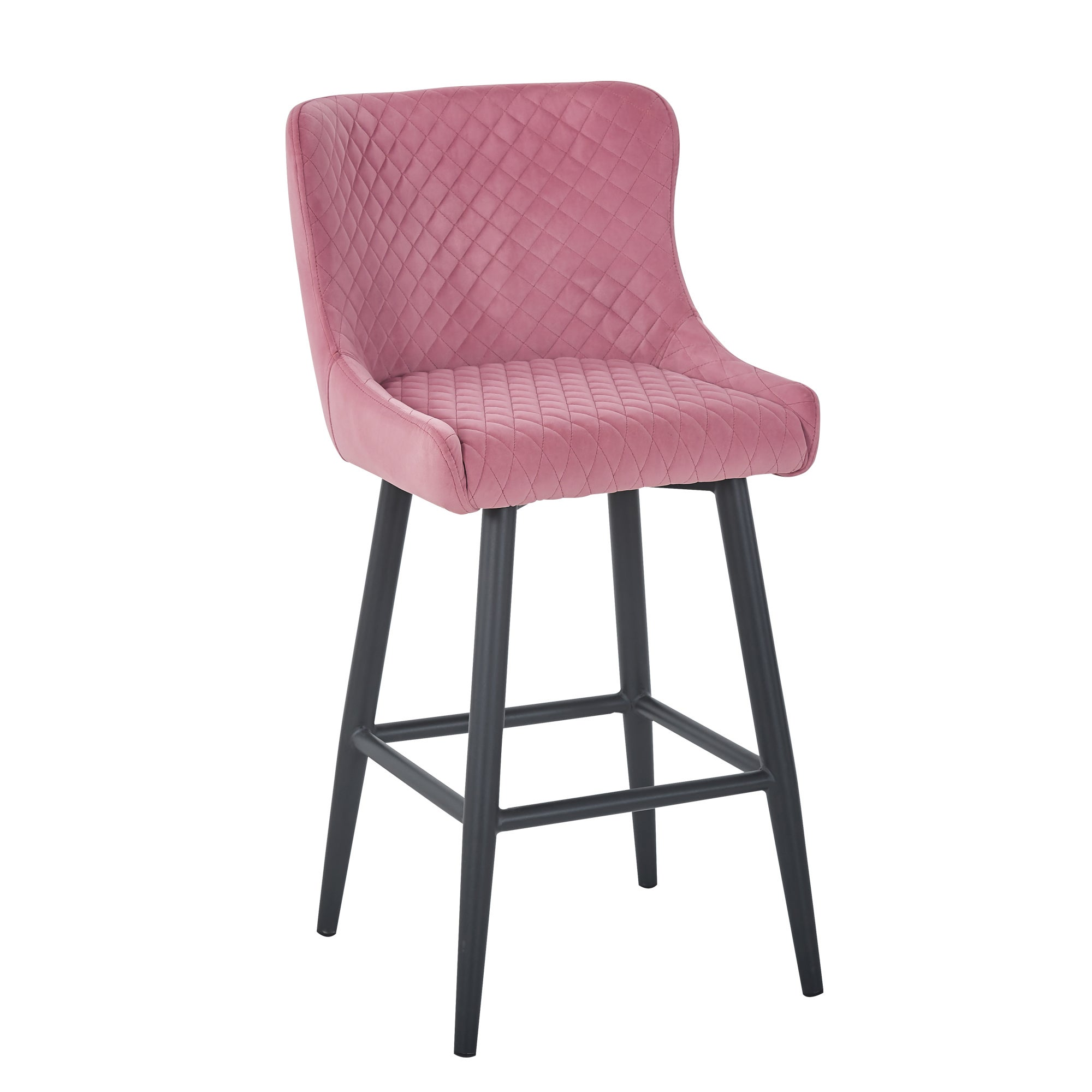 Montreal Pink Velvet Bar Stool Pink