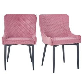 Montreal Set of 2 Dining Chairs Pink Velvet