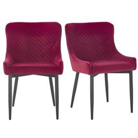 Montreal Set of 2 Velvet Merlot Dining Chairs