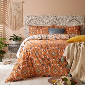 Furn. Folk Flora Orange Reversible Duvet Cover and Pillowcase Set