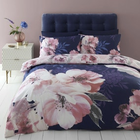 Catherine Lansfield Dramatic Floral Navy Reversible Duvet Cover and Pillowcase Set